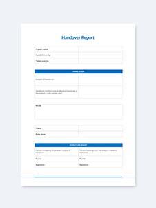 Sample Handover Report Template