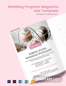 Free Wedding Program Magazine Ads Template