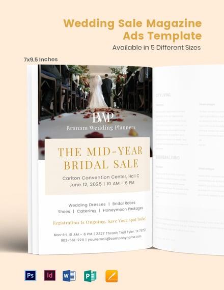 Free Wedding Sale Magazine Ads Template