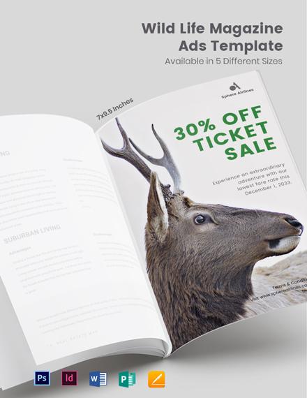 Free Wild Life Magazine Ads Template
