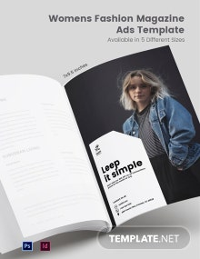 Free Women's Fashion Magazine Ads Template