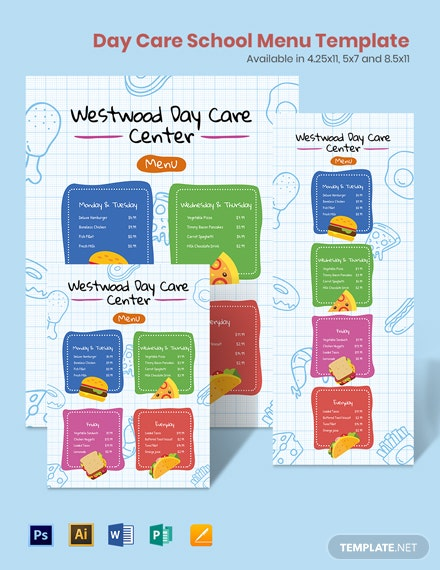 Day Care School Menu Template