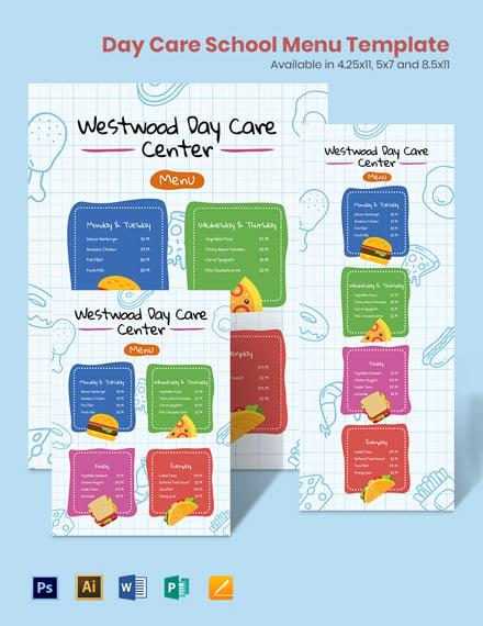 Day Care School Menu Template