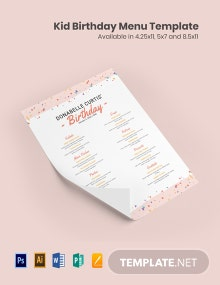 Kid Birthday Menu Template