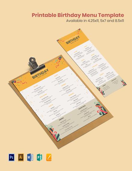 Free Printable Birthday Menu Template