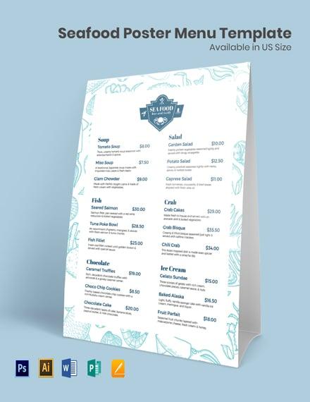 Seafood Poster Menu Template