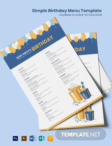 Free Simple Birthday Menu Template