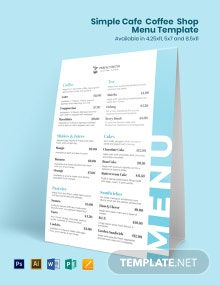 Simple Cafe/ Coffee Shop Menu Template