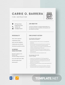 Fire Instructor Resume Template