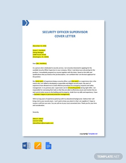 Free Security Officer Supervisor Cover Letter Template