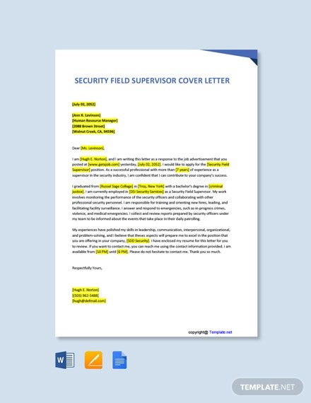 Free Security Field Supervisor Cover Letter Template