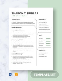 Fire Investigator Resume Template