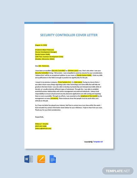 Free Security Controller Cover Letter Template