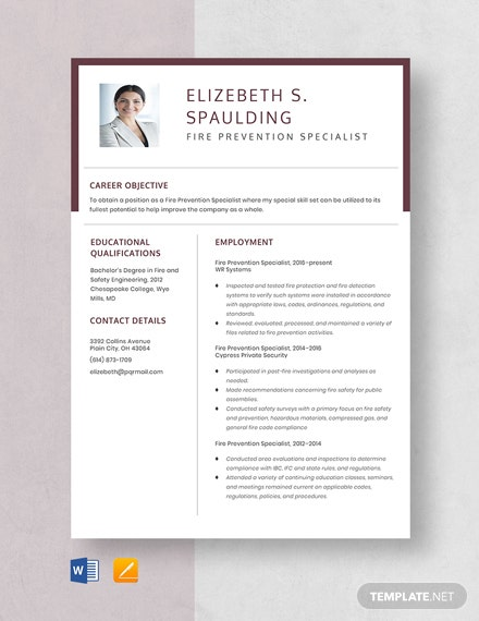 Free Fire Prevention Specialist Resume Template