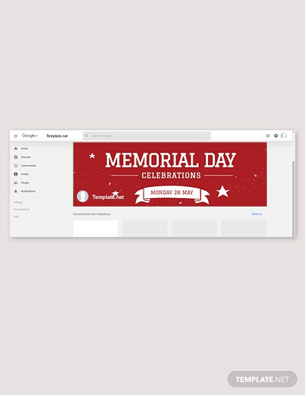 free memorial day google plus cover template 1x