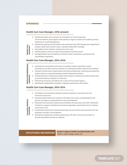 Health Care Case Manager Resume Template