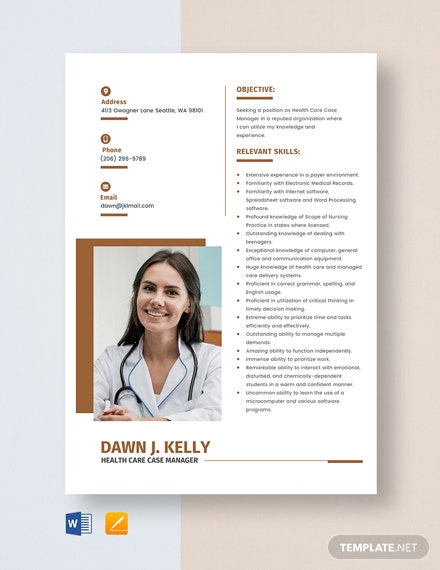 Free Health Care Case Manager Resume Template