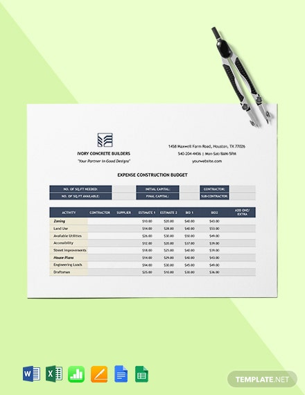 Expense Construction Budget Template