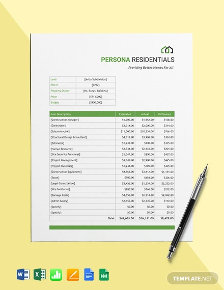 Editable Residential Budget Template