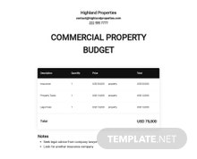 Commercial Property Budget Template