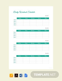 Daily Workout Schedule Template