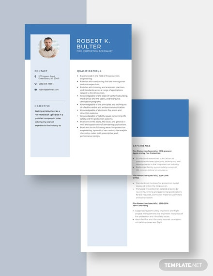 Fire Protection Specialist Resume Download