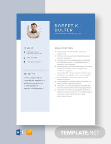 Fire Protection Specialist Resume Template