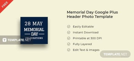 Memorial Day Google Plus Header Photo Template