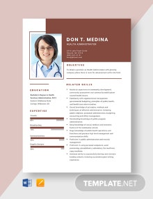 Health Administrator Resume Template
