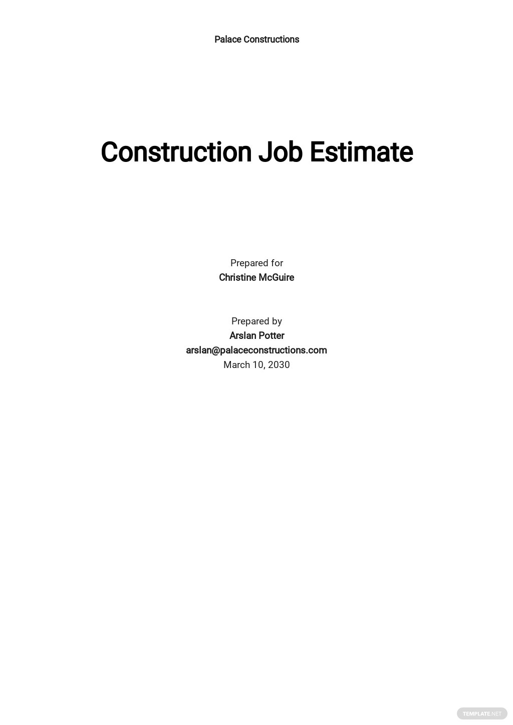 Construction Job Estimate Template