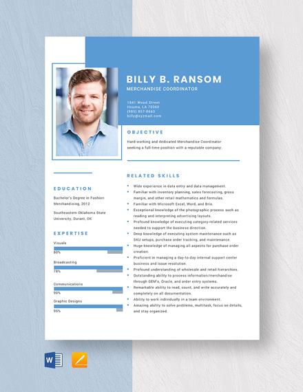 Merchandise Coordinator Resume Template