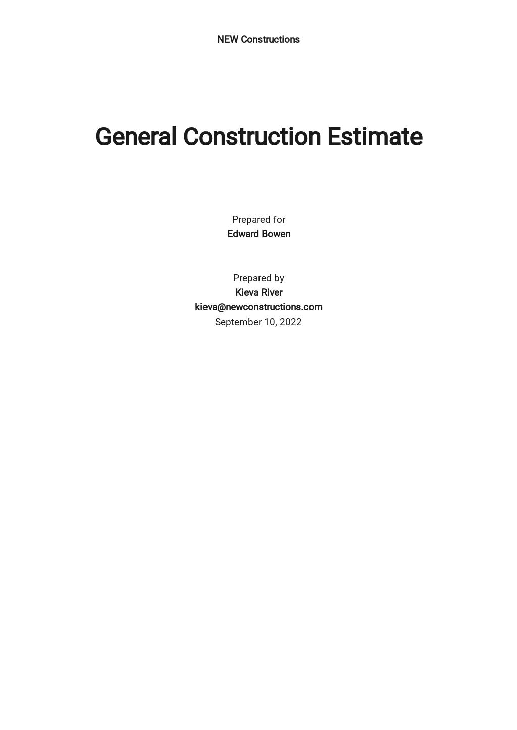 General Construction Estimate Template
