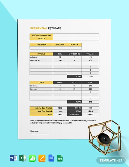 Residential Estimate Template