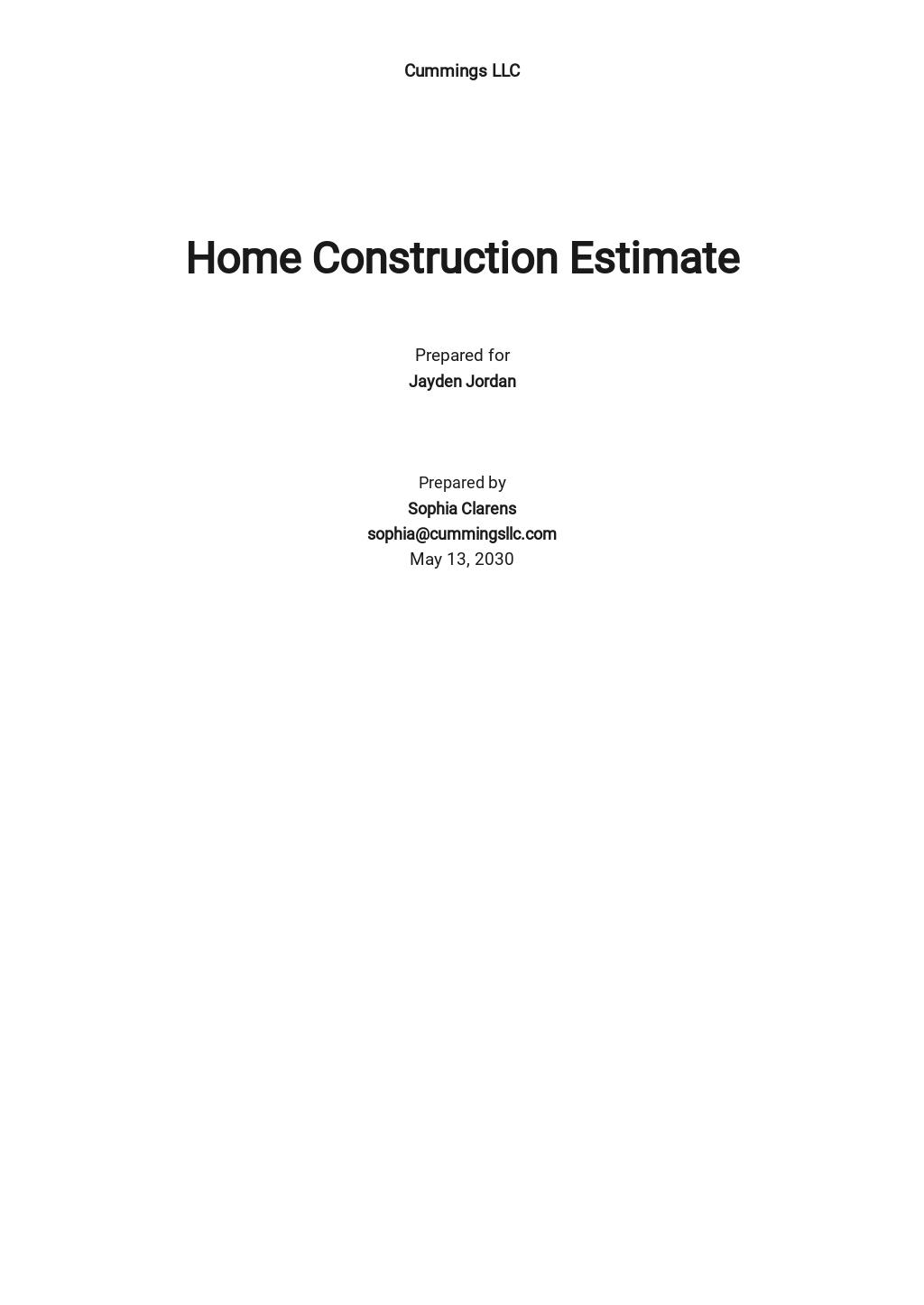 Home Construction Estimate Template