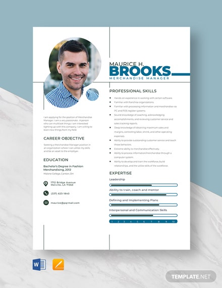 Merchandise Manager Resume Template