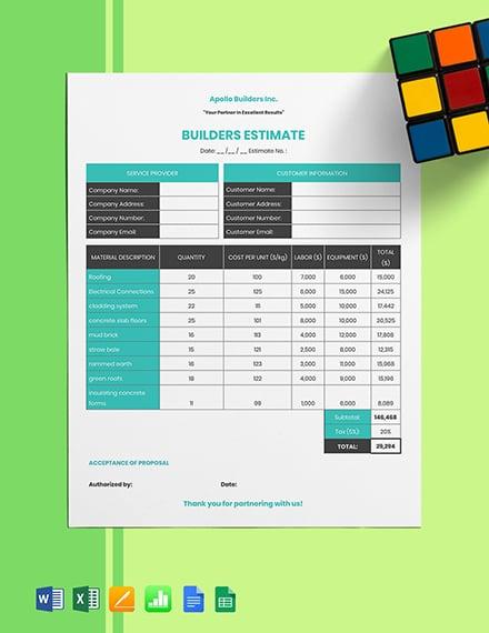 Builders Estimate Template