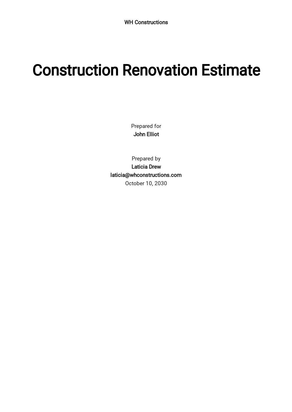 Construction Renovation Estimate Template