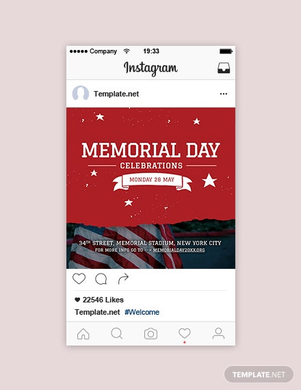 Free Memorial Day Instagram Post Template
