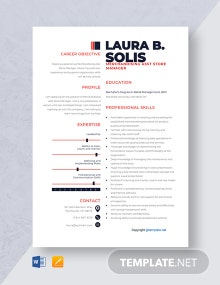 Free Merchandising Asst Store Manager Resume Template