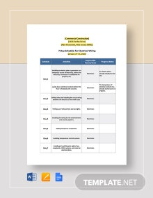7-Day Commercial Construction Schedule Template
