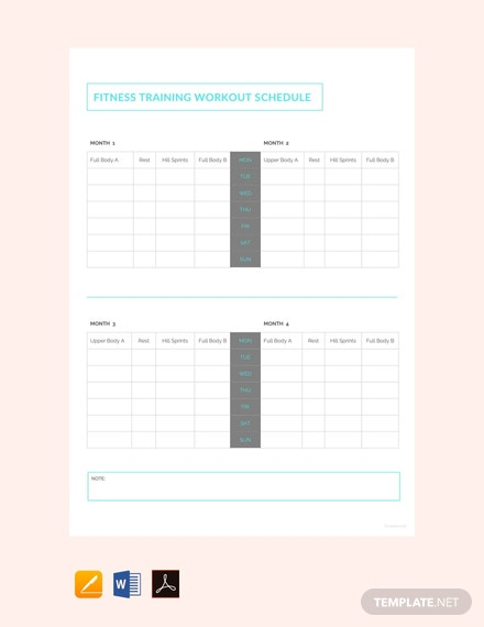 free fitness training workout schedule template 440x570 1