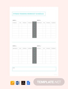 Free Fitness Training Workout Schedule Template