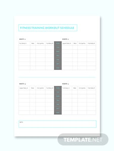 Fitness Training Workout Schedule Template