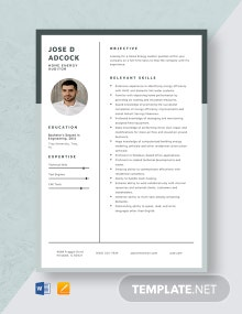 Home Energy Auditor Resume Template
