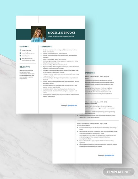 Home Health Care Administrator Resume Download