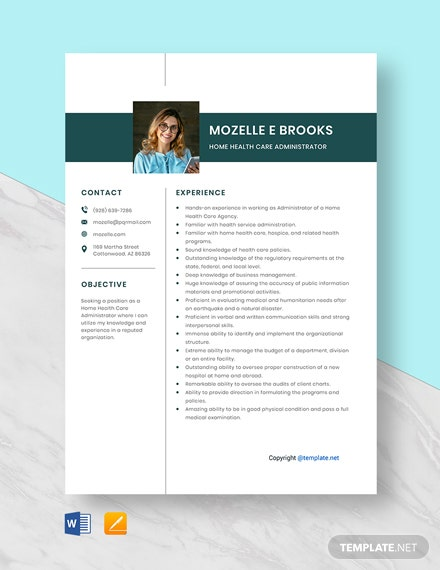 Free Home Health Care Administrator Resume Template
