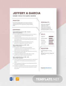 Free Home Health Care Nurse Resume Template