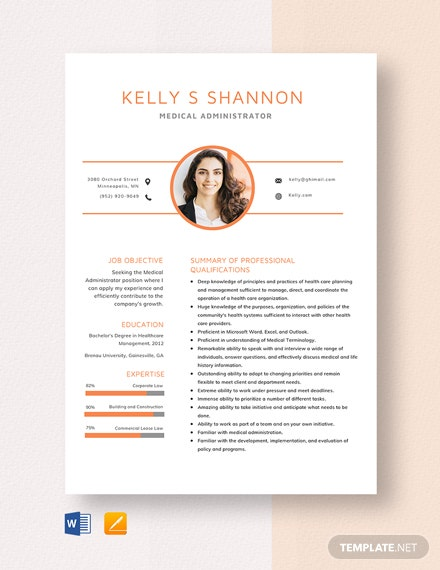 Medical Administrator Resume Template