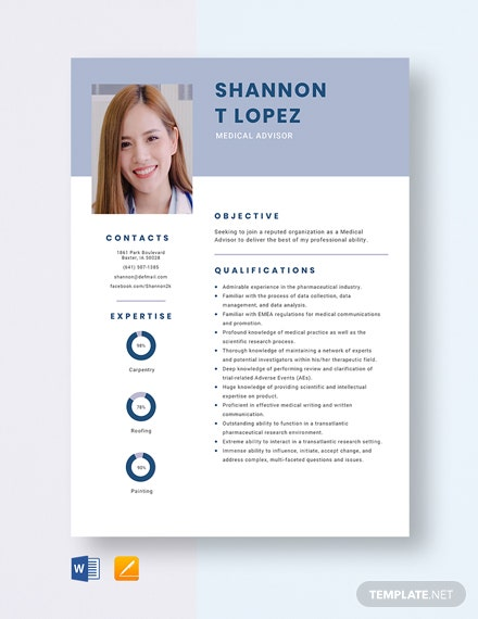 Medical Advisor Resume Template