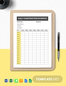 Daily Construction Schedule Template